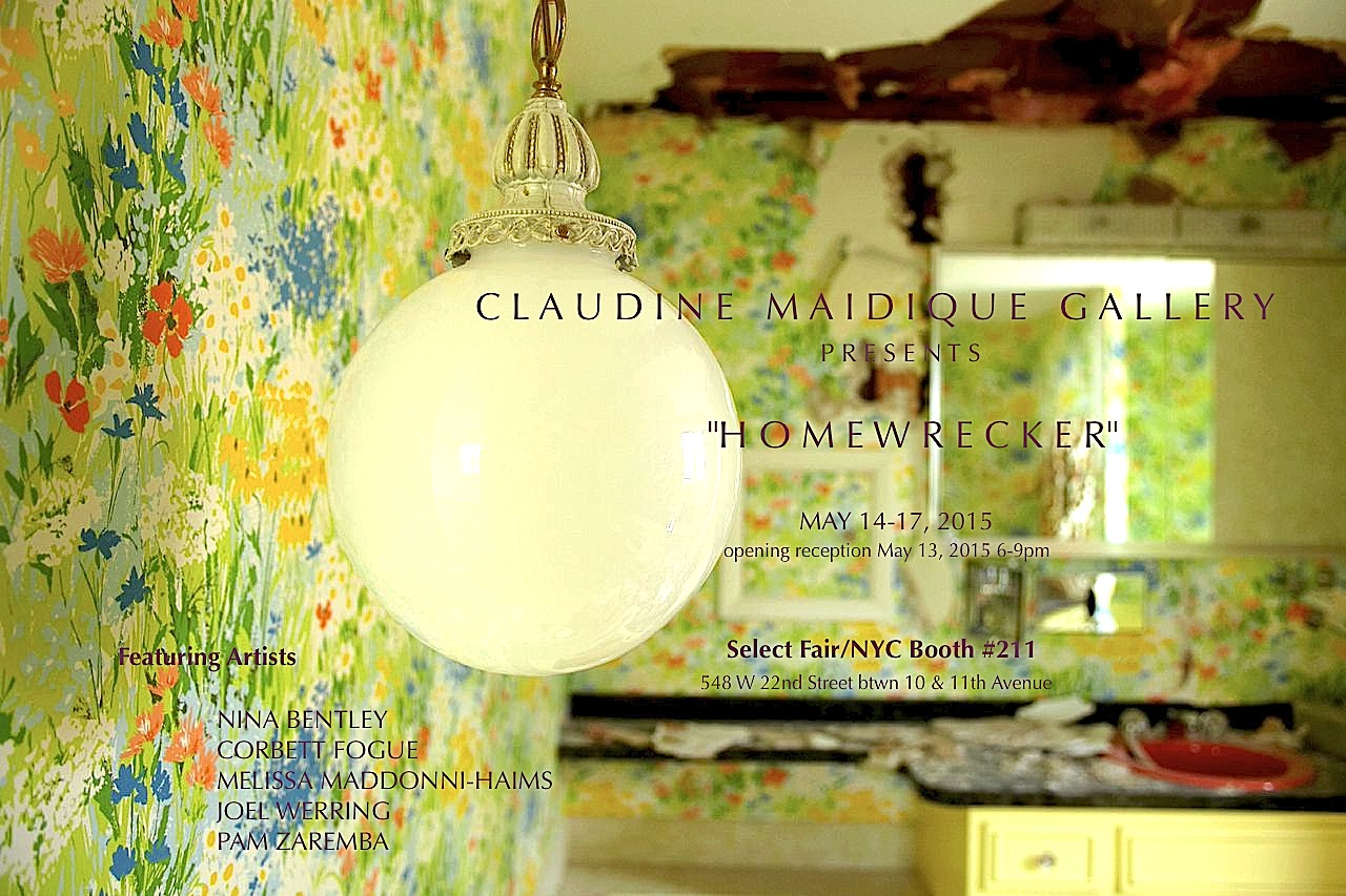 """May 13th-17th 2015 - Claudine Maidique Gallery was pleased to present Homewrecker, a temporary group exhibition examining the emotional complexities of the construction, devastation, and resolution of marriage and family life in contemporary society. The show transcends the common connotation of """"homewrecker,"""" and explores the multiple ways that the """"home"""" can be """"wrecked""""—whether by betrayal, loss, neglect, disease or addiction, or psychological crisis. Each of the works by the five talented artists in this exhibition offer a glimpse of normative models of American home life and simultaneously reveal a distortion of these social mores. The exhibition seeks to provide more questions than answers: what constitutes a home? What does it mean to have it destroyed? Can a wrecked home be rebuilt or regenerated, its destruction transformed into creation?"""