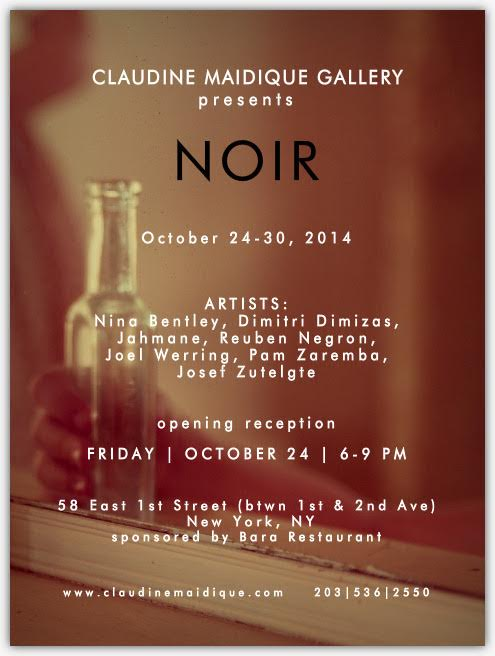 October 24th-31st 2014 - This group exhibition—NOIR—explores fragmentation of body, mind, and character, reminiscent of the film noirgenre that originated in the 1940s. Common techniques in cinema during this time involved heavy editing that hid or distorted parts of a face or body and played with shadow and light, often obscuring a narrative progression in ways that emphasized moral ambiguity or psychic flaws. In this show, the arrangement of the pieces creates a similarly ominous or confusing mood.