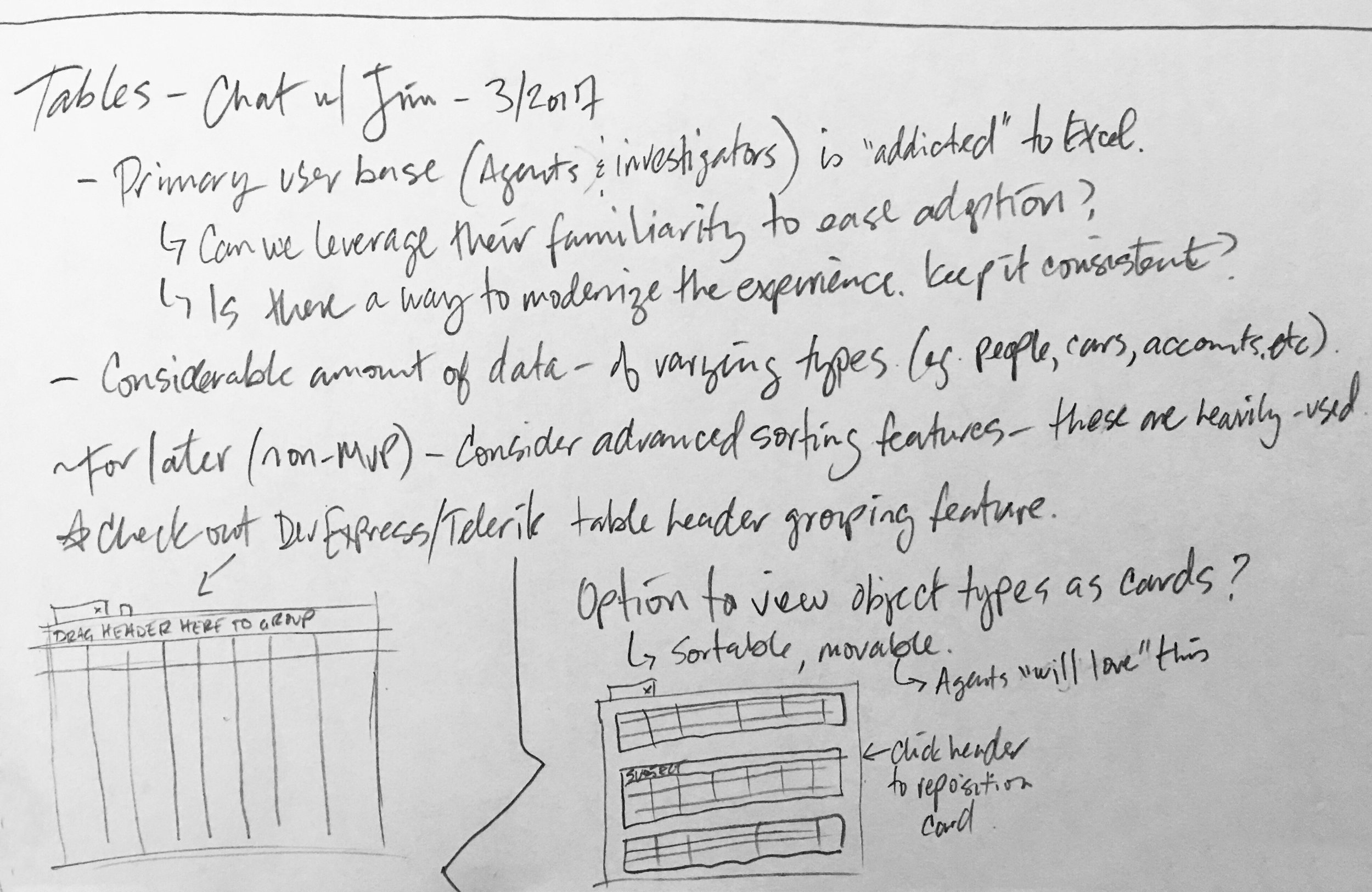 Notes from user interviews on building a table viewer