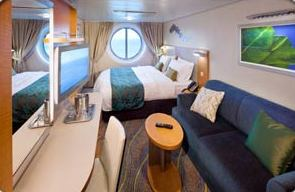 OCEANVIEW CABIN - Two twin beds that convert to Royal King, private bathroom and sitting area. Stateroom: 179 sq. ft.; Accessible: 264 sq. ft.Note: Some staterooms have a porthole view instead of a window.
