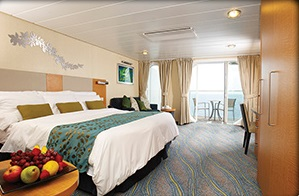 BALCONY CABIN - Two twin beds that convert to Royal King, sitting area with sofa, full bathroom and private balcony. Stateroom: 182 sq. ft. Balcony: 50 sq. ft.; Accessible: 272 sq. ft. Balcony: 80 sq. ft.
