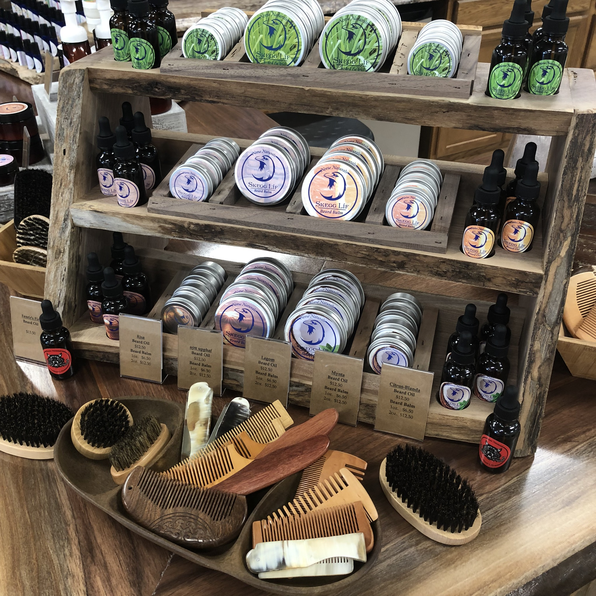 Norse Naturals beard oils, balms, combs, & brushes