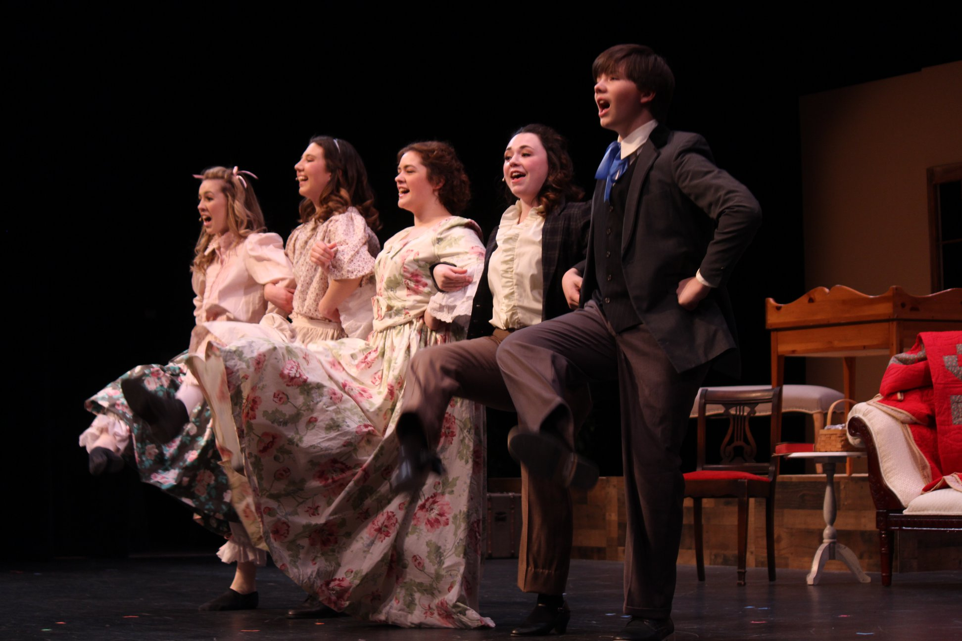 """Five for all forever!"" Left to Right: Sidney May as Amy, Deanta Saunders as Beth, Lindsey Smith as Meg, Ashlyn Lewis as Jo, and Zaden Scheer as Laurie.  Photo Courtesy of Sean Caldwell."
