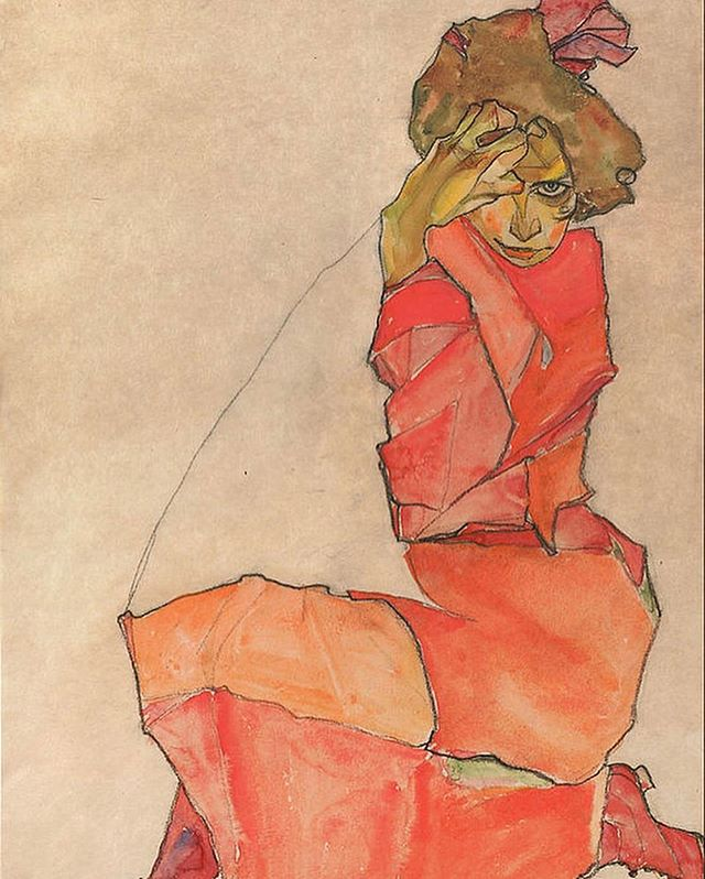 """Art cannot be modern. Art is primordially eternal. "" #happybirthday to the great #egonschiele ! —— His work was intense, raw, erotic and morbidly beautiful . —— 'Kneeling Female in Orange-Red Dress' Egon Schiele 1910 Drawing @leopold_museum . . . @primereggallery  GALLERY HOURS TODAY, 12-4PM & by appointment  On view: ""Nostalgique"" @artbyberc"