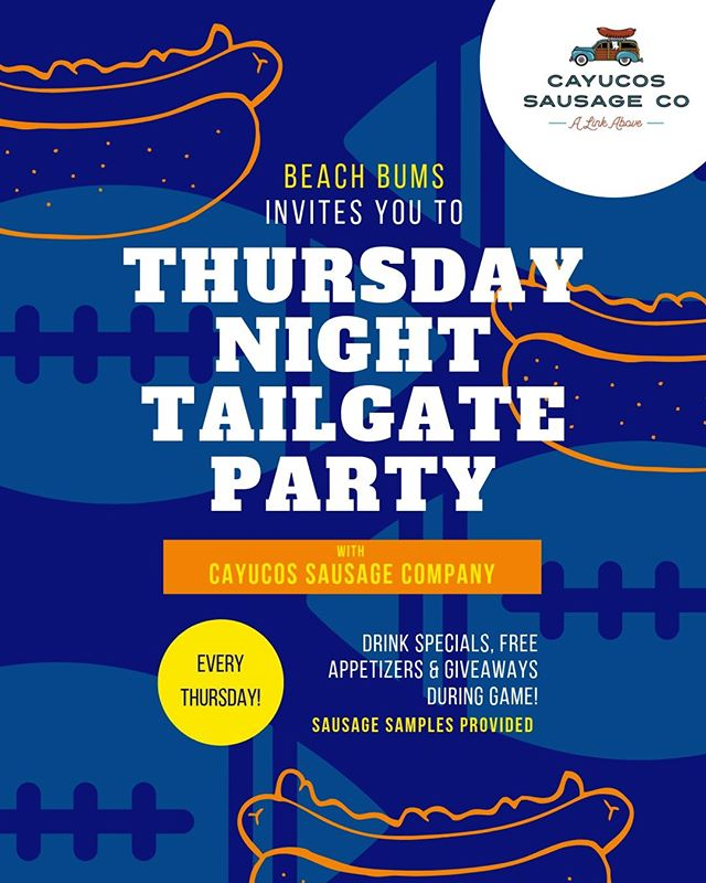 Beach Bums has teamed up with the Cayucos Sausage Company for our very own Thursday Night Football Tailgate Parties.   Every Thursday night we'll be having free appetizers, drink specials & giveaways during the game! The Cayucos Sausage Company will be providing sausage samples and other goodies!   We'll see you this thirsty Thursday for week 1!   #nfl #football #thursdaynightfootball #cayucos #california #pch #highway1 #morrobay #cambria #slocoupons #newtimesslo #slolife #dogfriendlyslo #slofoodies #shareslo