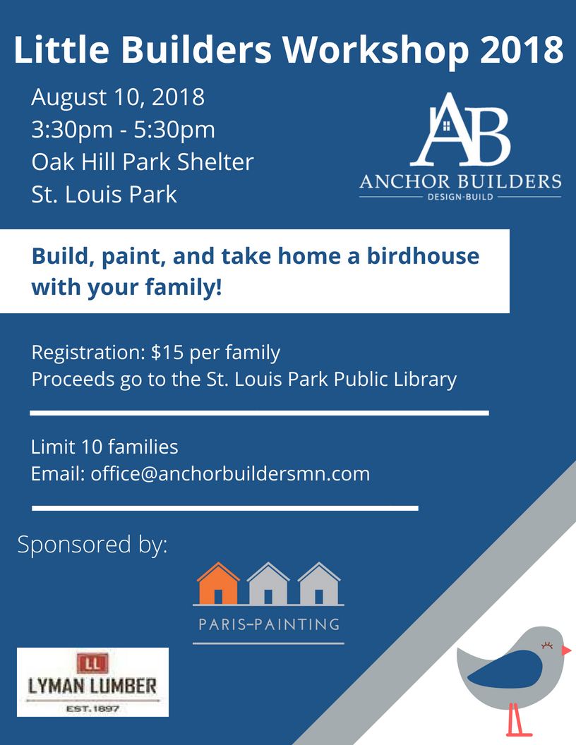 Join us for our 2018 Little Builders Workshop and help us raise money for the St. Louis Park Public Library!