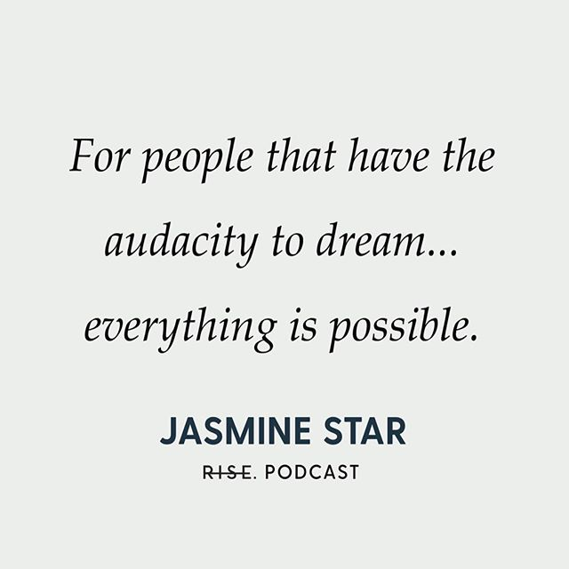 """""""For people that have the audacity to dream... anything is possible"""" — @jasminestar 👏 If you haven't listened in to this week's Rise Podcast episode yet, swipe ➡️ for a preview of the convo + tap the link in our bio to hear more 🎧 #RisePodcast"""