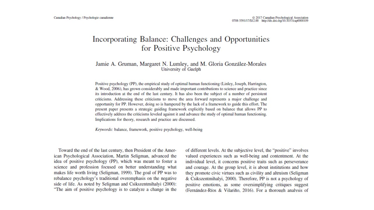 In a 2017 paper entitled Incorporating Balance: Challenges and Opportunities for Positive Psychology, Jamie introduced The Balance Framework for thinking effectively about the art of living well. -