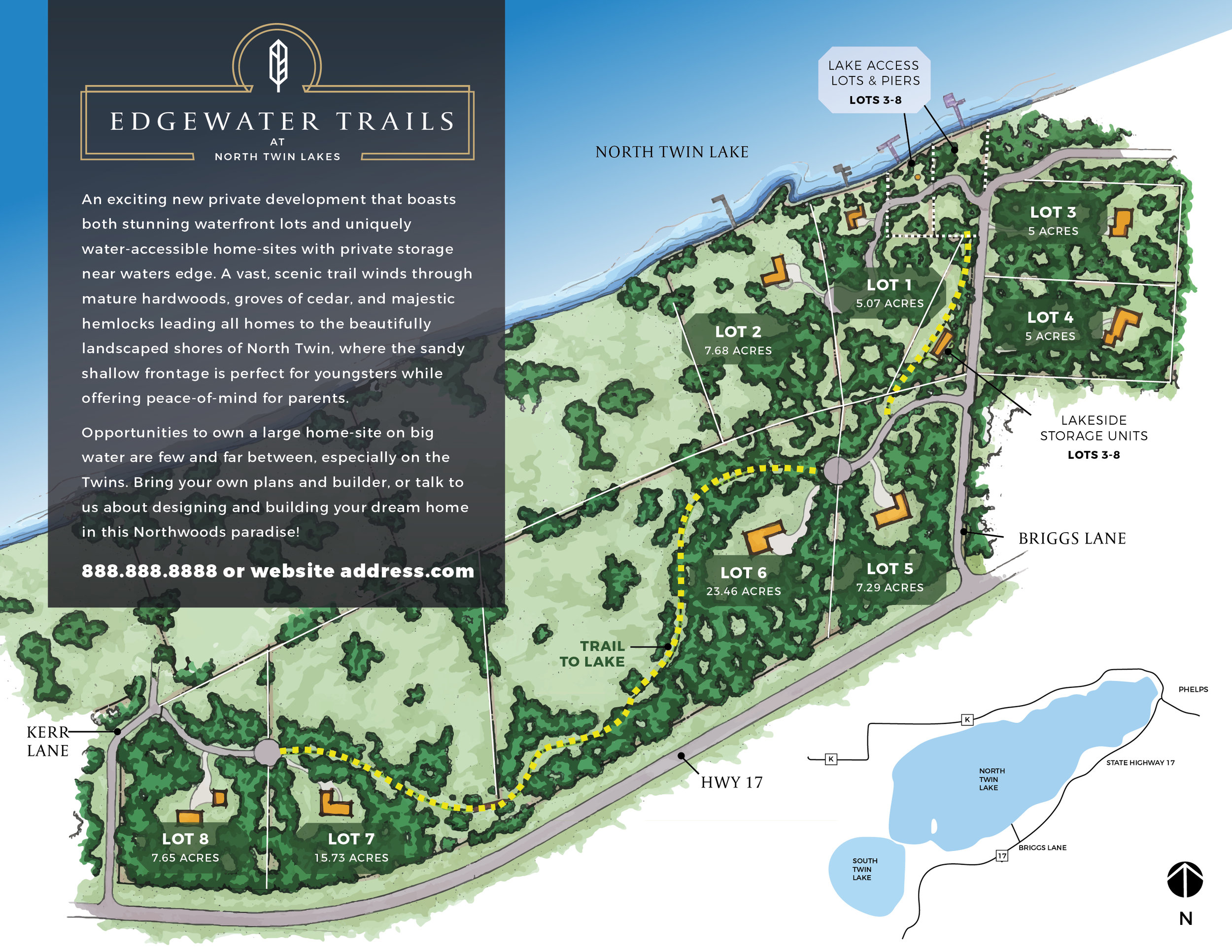 "BRANDING & MAP CREATION  for ""Edgewater Trails"" a new development of waterfront land for sale at North Twin Lakes, Wisconsin."