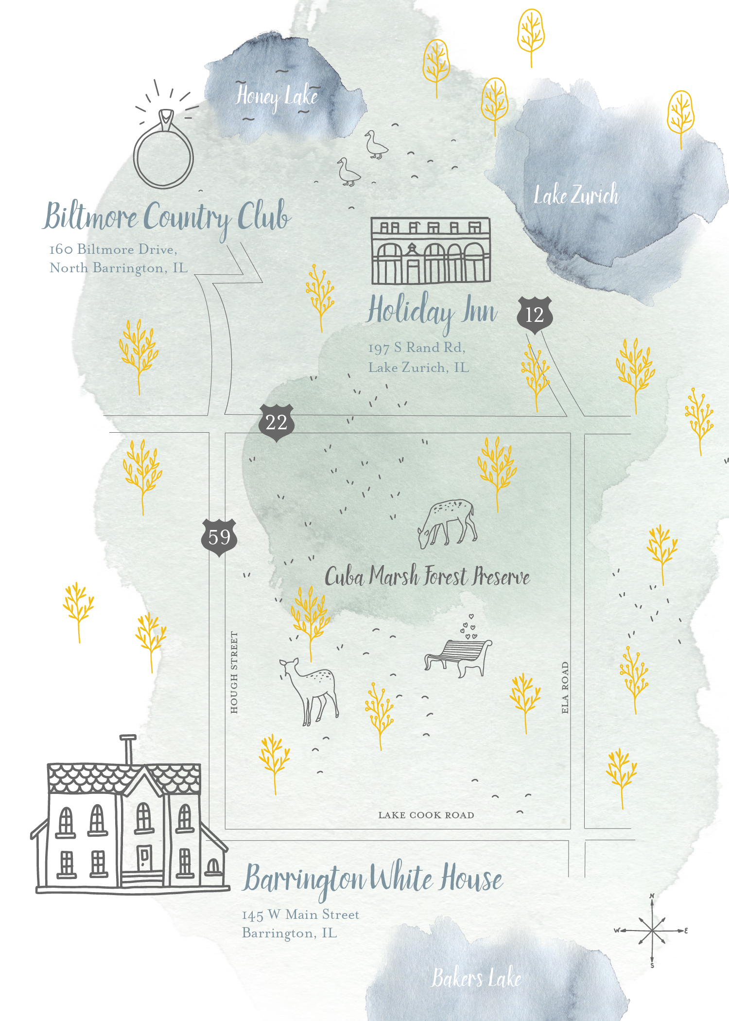 EVENT BRANDING  for Lauren & Zach's wedding. Here is a map that was included with the invitation.