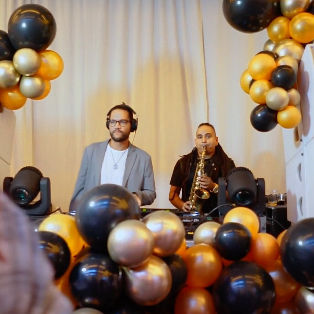 DJ Band Fusion - From cocktail hour to the dance party section of your event, we can cover all energy levels with our custom DJ band fusions. Whether it's just a few special tracks or a complete DJ set, add a saxophonist, violinist, vocalist or drummer to our DJ sets for incredible sound and presence!