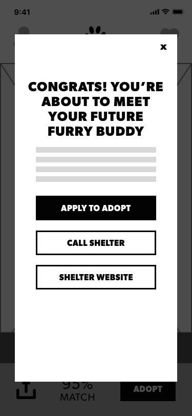 User can select to fill in the application, or find out specifics by calling the shelter. They can also see the shelter's website.