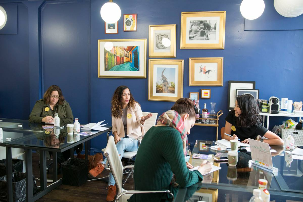 Connect with other women in a comfortable space. - Working from home can get lonely and working from coffee shops can be loud. Check out your new workspace!Learn more ➝