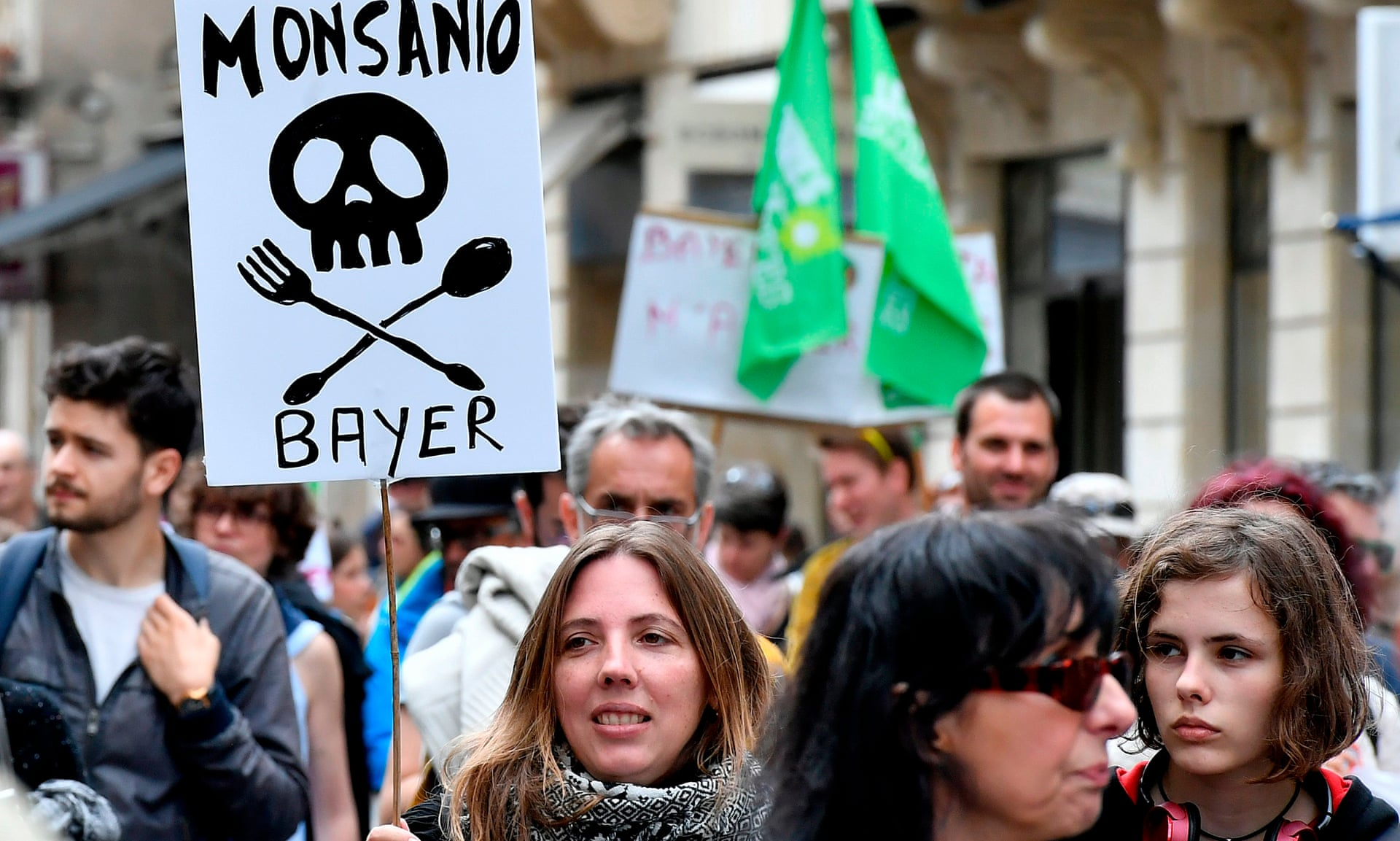 Demonstrators march against pesticide maker Monsanto in Bordeaux, France, last year.  Photograph: Georges Gobet/AFP/Getty Images