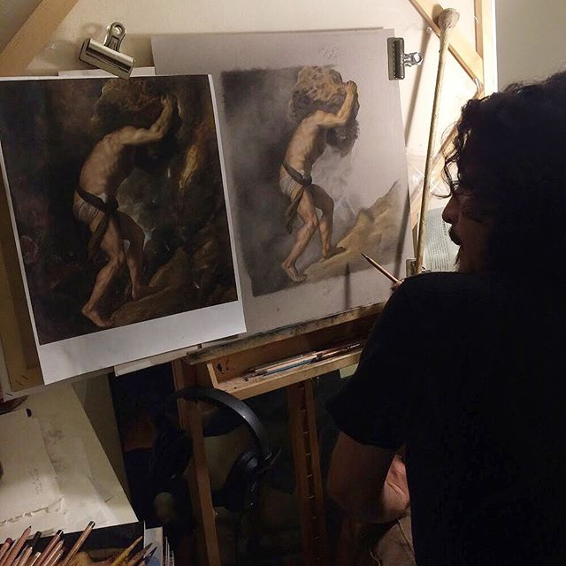 This photo is from 2015, when I was making my first master copy, during my first year at @aristidesatelierofficial I learned a lot from Titian in that time: some background-foreground dynamics, composition and skin tones, but mostly how to actually bring a work of art to a finish. #titian #atelier #mastercopy #pastel #canson #tonedpaper #seattleartist #classicalart #cartagenart #ovidiocartagena #humanfigure #sisyphus #throwback #renaissance #renaissance