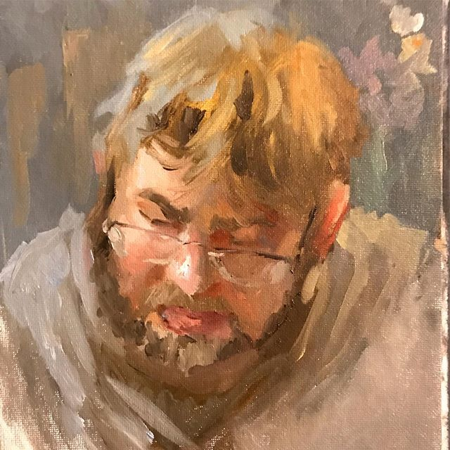 "A portrait of my friend Nick Southam, made as a gift to @on_robot I made this in an hour and a half as a failed demo (Nick didn't get to see the process). Oil on canvas panel, 8x10"". #portrait #oilpainting #oils #sketch #sketchnight #art #ovidiocartagena #cartagenart #seattleartist #nick #reptilian"