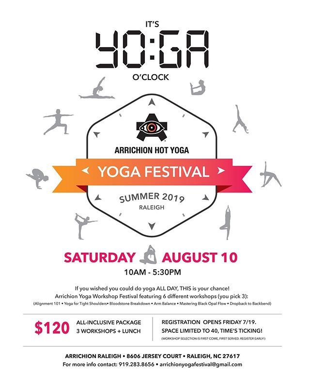 The 300hr Advanced Teacher Trainees + Arrichion Team are bringing you.... 🥁 DRUM ROLL 🥁 . . . . .🌟Arrichion's First Ever Yoga Festival🌟. . . 🗓 Saturday, August 10th ⏰ 10am-5:30pm 📍 Arrichion Raleigh (Brier Creek) .  Registration is OPEN! *Link below*  https://forms.gle/QkyXJhz2kevTHWVG9 . . .👇🏻$120 gets you👇🏻 . . . •Three 90-minute workshops 🤸🏻♂️. •Lunch (catered) 🥗🥪. •Special-edition festival sticker. •Exclusive multi-colored wristband 🌈 . . . *Register by 7/31 to be entered into a raffle to win a @liforme yoga mat!! ($140 value 🤩) .  Space is limited to 20 per workshop, and workshop option is first come, first serve, so sign up today to secure your spot in the workshops you've had your eye on! . . 👇🏻FESTIVAL SCHEDULE👇🏻 .  10am Check-In .  10:30am Workshop 1 - Alignment 101 v. Shoulder Soldiers: Yoga for Tight Shoulders .  12pm Lunch: Provided by @panerabread .  1:15pm Workshop 2 - Bloodstone Breakdown v. Dropback to Backbend .  2:45pm BREAK .  3:15pm Workshop 3 - Mastering Black Opal Flow v. Branching Out: Arm Balances .  4:45pm Closing {prize giveaway & group pictures!} . *DM any questions!* .  #arrichionteachertraining  #arrichionAdvancedYTT #YogaTeacherTraining  #300hrYTT  #arrichionstrong