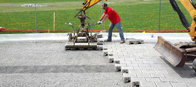 The PaveDrain system can be mechanically installed with a mini-excavator and a minimal crew.