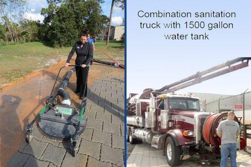 PaveDrain Vac Head (left) attached to Combination Vac Truck (right).
