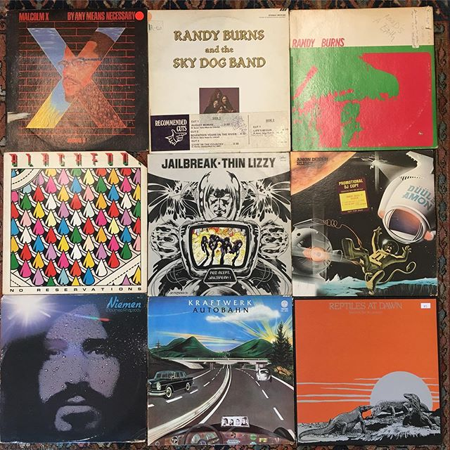 Shops open!! Jump started my dead battery, changed my flat, and still managed to pull some records this morning. Here til 6! #records #vinyl #newarrivals #flattires #deadbattery #kraftwerk #niemen #randyburns #malcolmX #newhaven #ct #elmcity