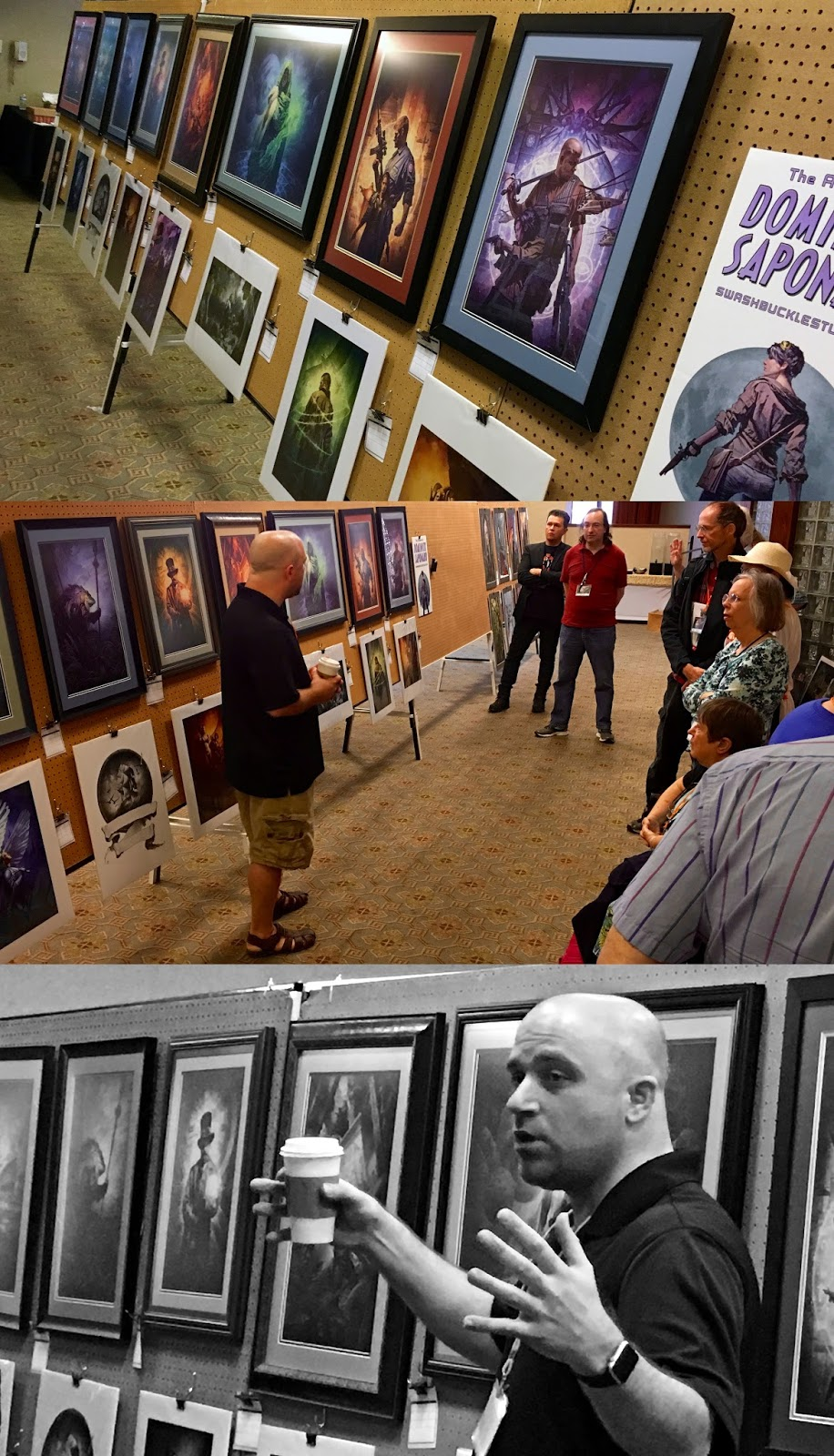 Top: My work on display in the art show. Middle: My guest artist interview panel hosted by the awesome John Picacio. Bottom: Talking with my hands and being very animated about my work!