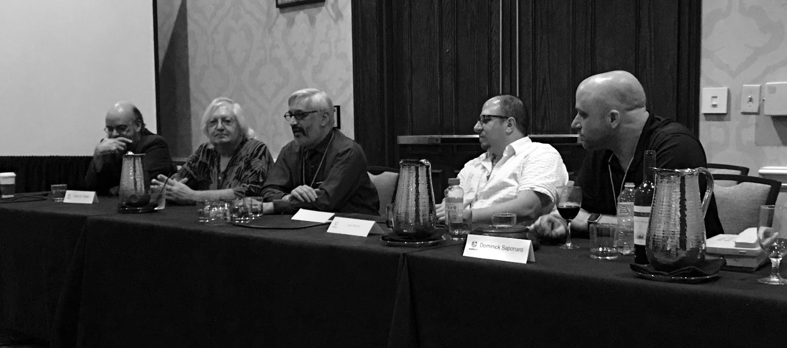Late night book cover illustration panel. Left to Right: Brad Foster, Willie Siros, Jacob Weisman, Joe Monti, & Dominick Saponaro.