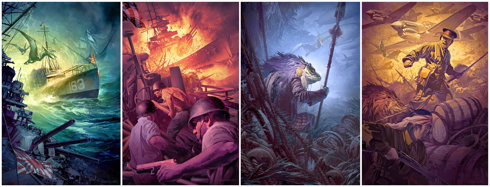The four final painted covers for Taylor Anderson's Destroyermen series published by the Science Fiction Book club.