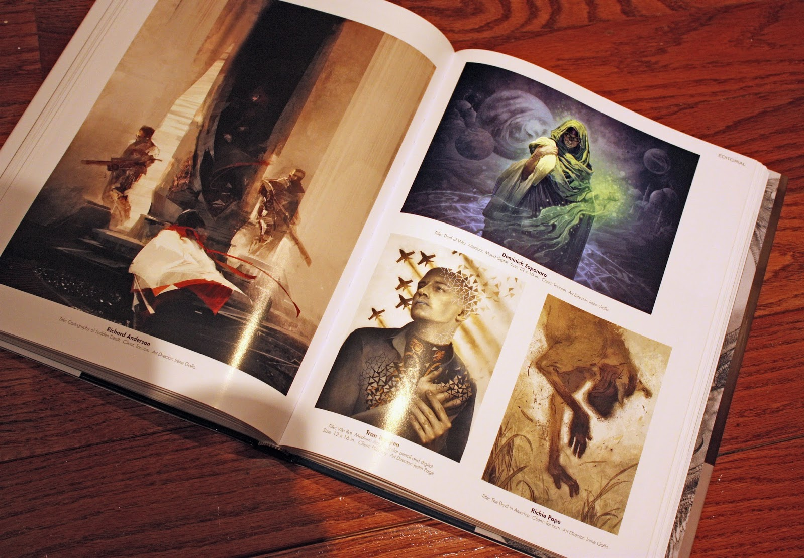 A nice spread of Tor.com illustrations/artists.  Left Page:  Richard Anderson.  Top Right:  Me!  Bottom Left Right Page:  Tran Nguyen.  Bottom Right Right Page:  Richie Pope.
