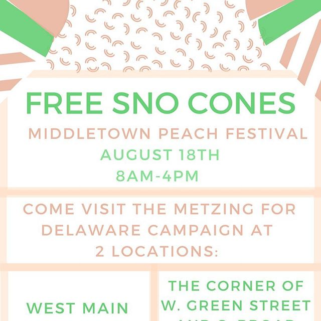 Cool off tomorrow while you're at the Middletown Peach Festival with a free sno cone at one of my booths! Find us on Main Street or at the corner of West Green Street and South Broad Street.