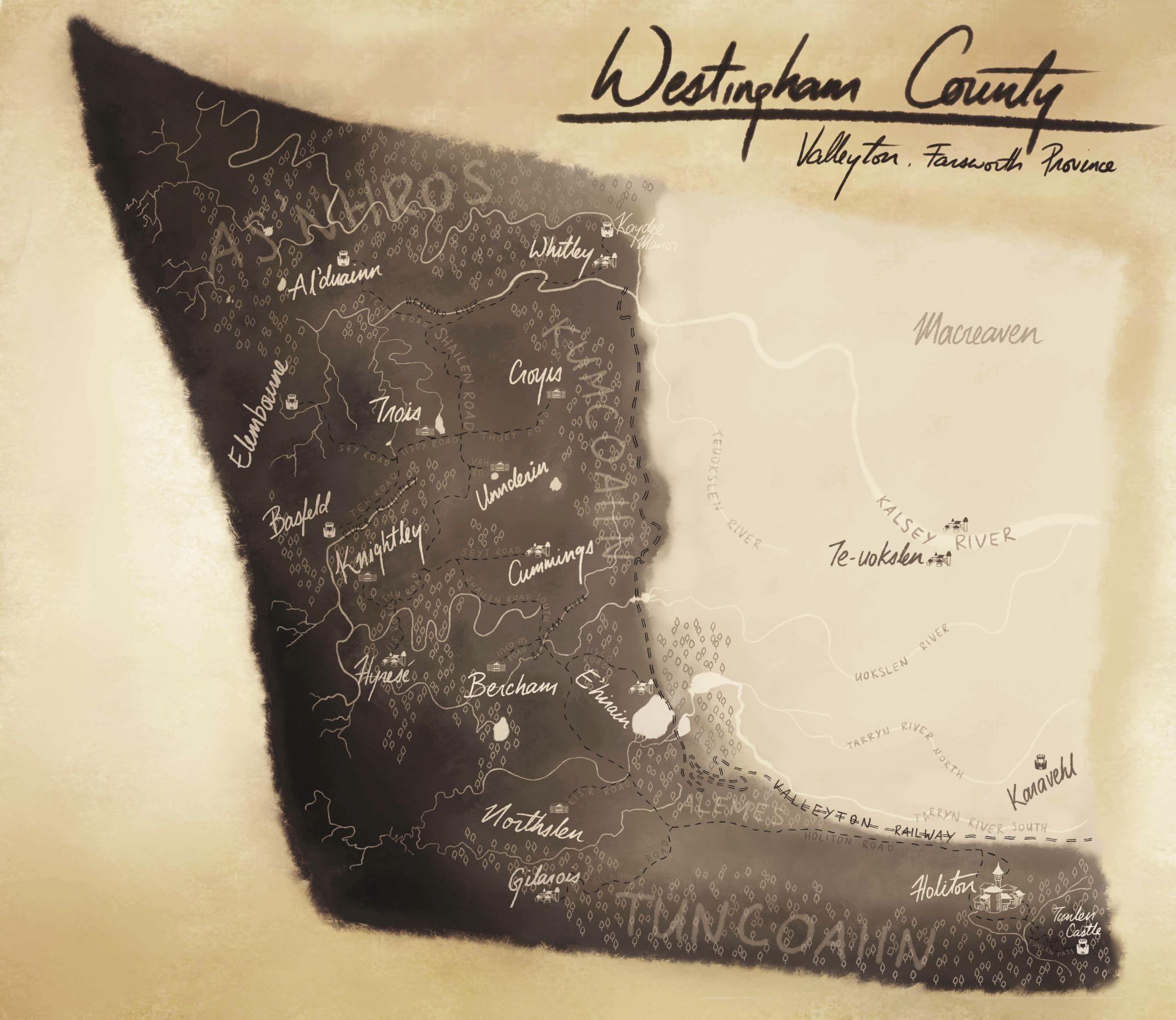 Westingham County, est 8600
