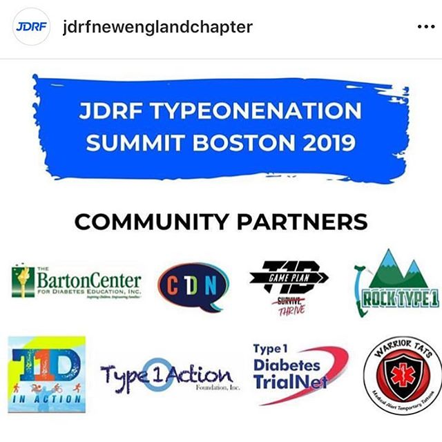 "Excited to be joining this wonderful group of diabetes support groups tomorrow for the @jdrfnewenglandchapter Type One Nation Summit! — Join us at 245 for the ""Finding Your Game Plan"" Athlete Panel with amazing T1D athletes and role models: @lauren_bongiorno, @katehall2043, @type1action, and HS athlete Tommy Degnan! — Going to be a great event 😄 #findyourgameplan #gameplant1d"