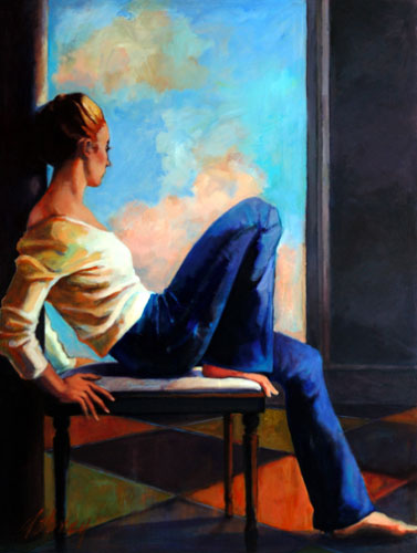 WOMAN BY THE WINDOW II  ACRYLIC/BOARD  SOLD  to University of SC Medical School