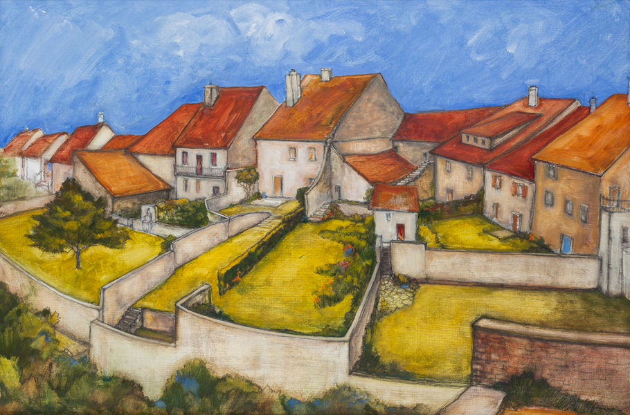 FRENCH VILLAGE  OIL/PENCIL/CHARCOAL SOLD
