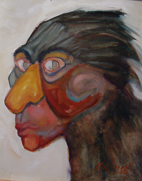 "BECOMING CROW WOMAN  OIL 20"" x 24"" $600"