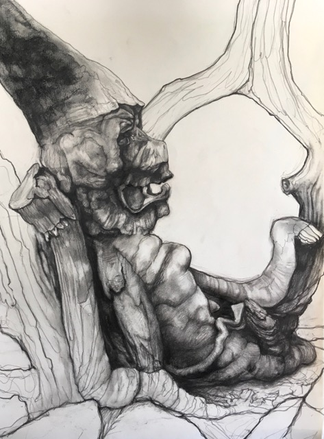 TREE SPIRIT V  PENCIL AND CHARCOAL ON PAPER