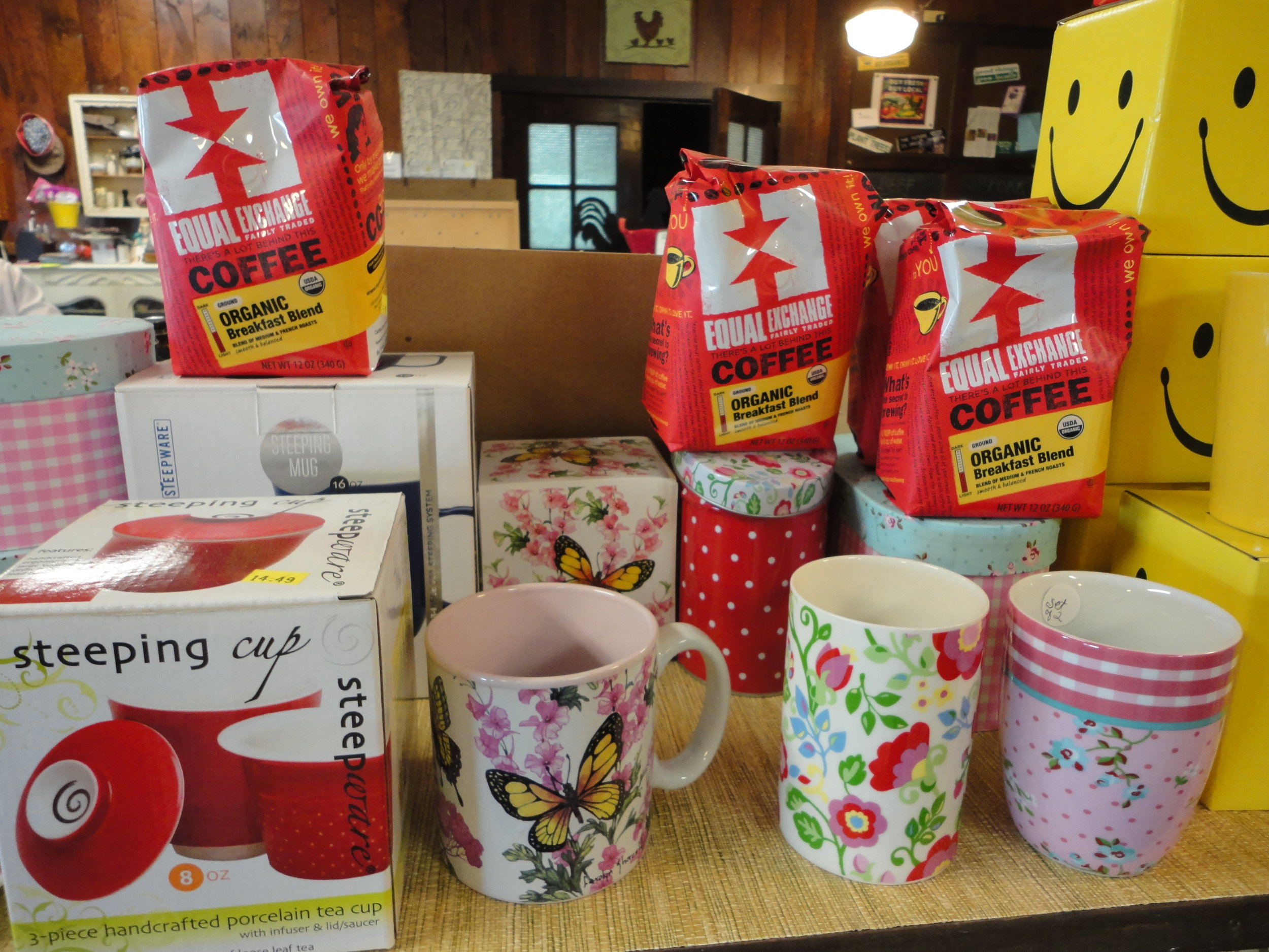 We carry premium specialty coffees and teas and accessories! - We carry whole bean and ground coffees, loose leaf and bagged teas