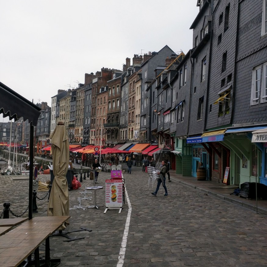 Restaurant Lined Dock in Honfleur