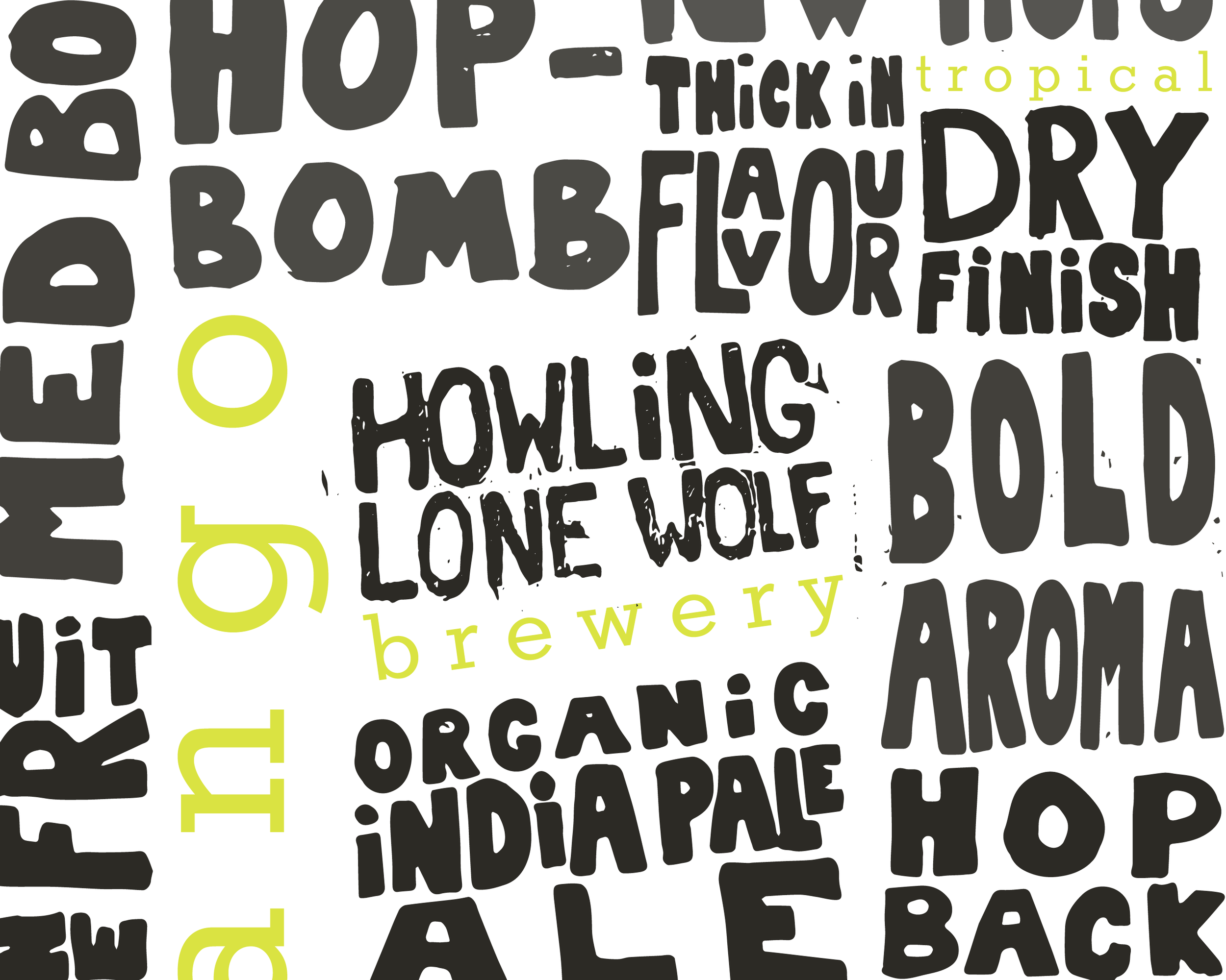 HOWLING LONE WOLF BREWERY| IDENTITY & PACKAGING - This unique, local brewery released three new summer brews for their taproom grand-opening. The brewery packaging features bright bold colors to balance the dark gritty hand-lettered texture found on the label.