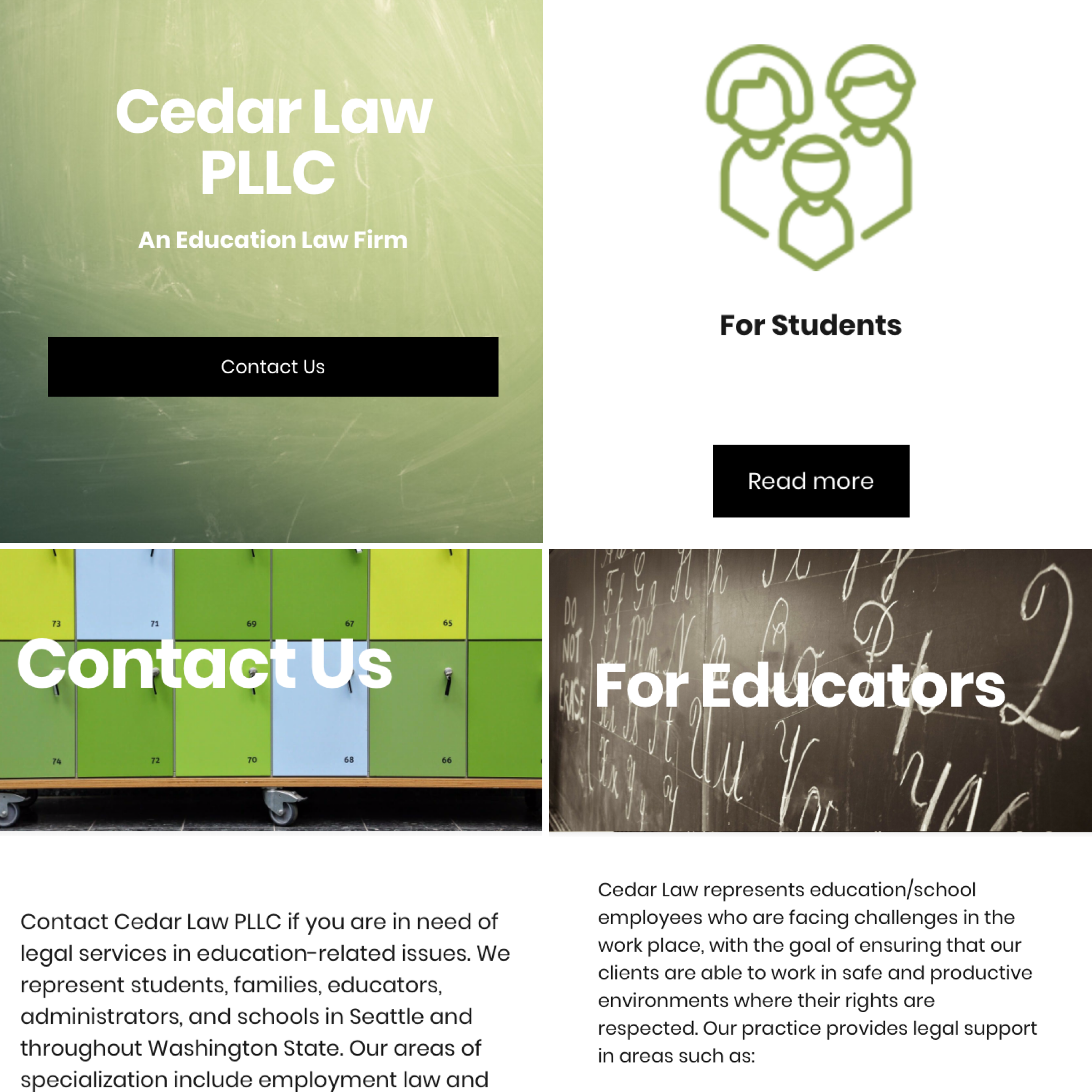 Cedar Law PLLC  I created a new website for this Educational Law Firm in Seattle with an emphasis on improving their SEO. I also provide their team with video production services and other legal multimedia support.