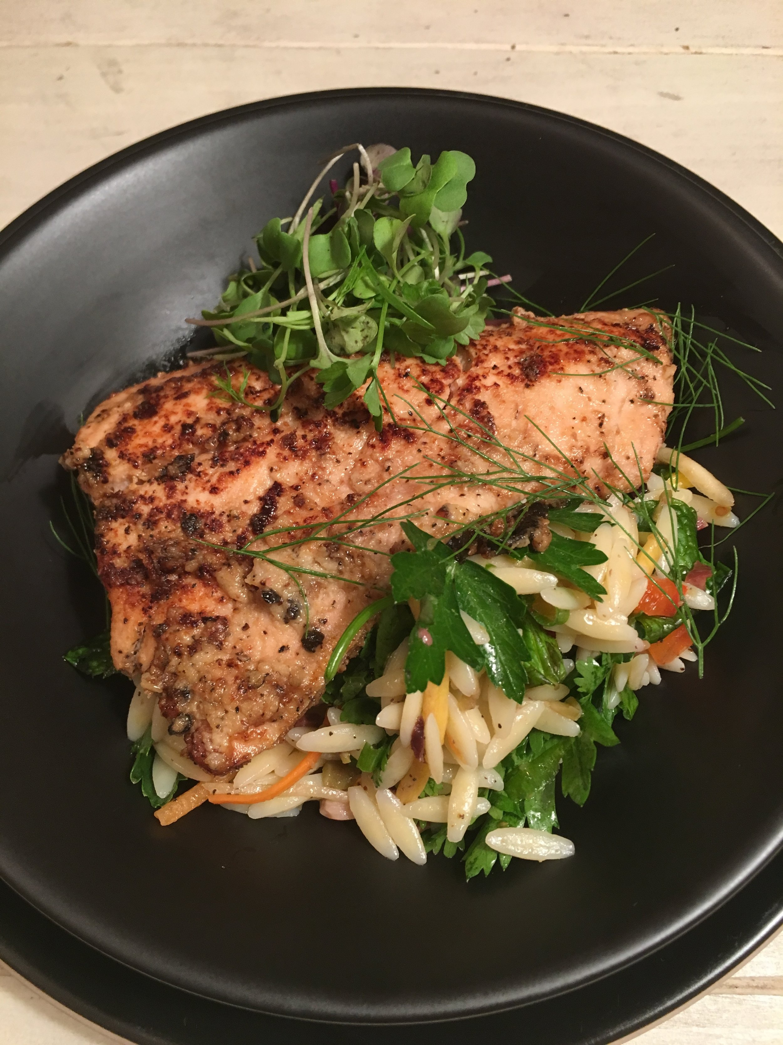 Grilled Salmon over Herbed Orzo