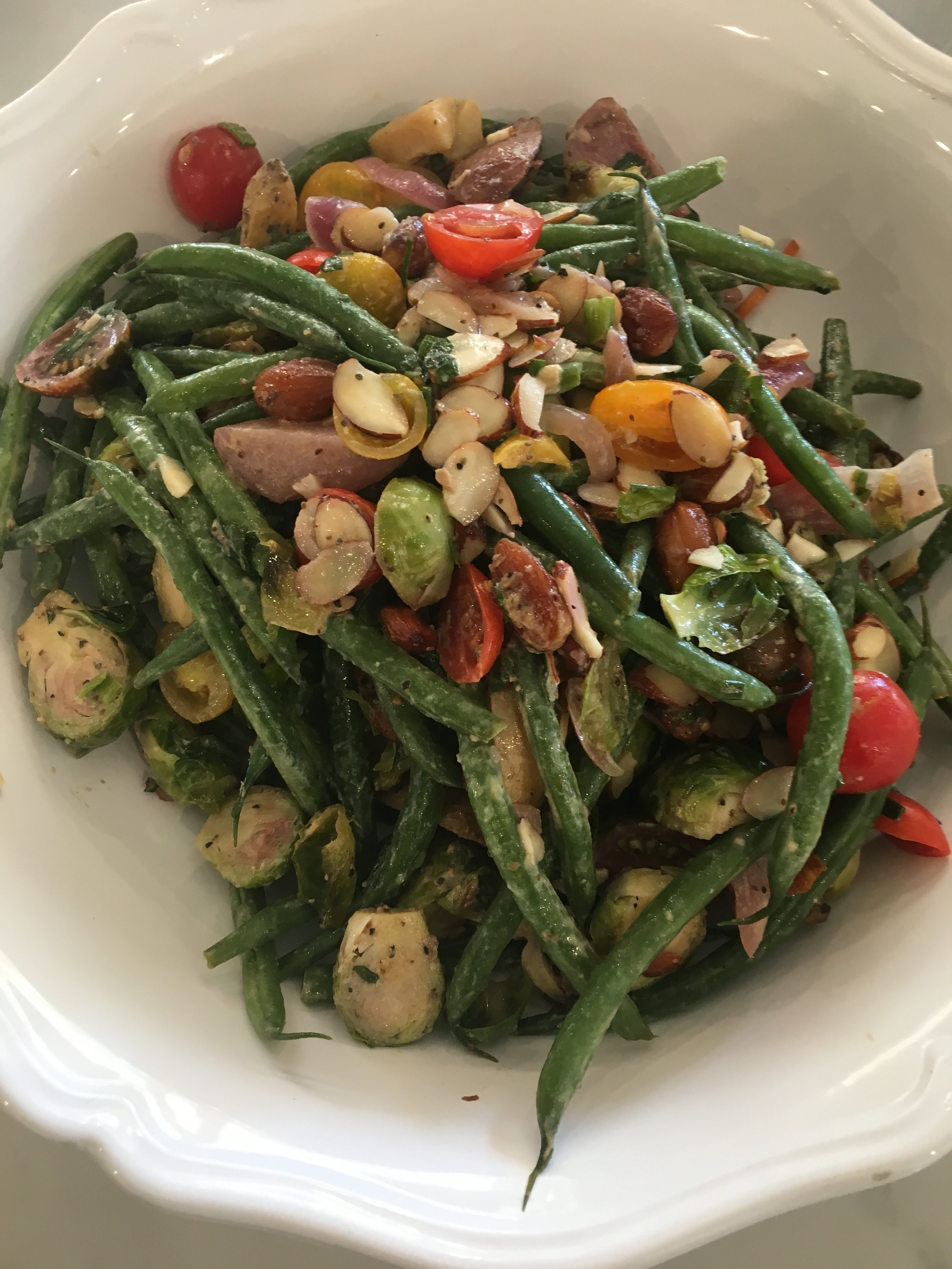 Haricot Vert, Brussel Sprouts & Heirloom Cherry Tomatoes W Almond