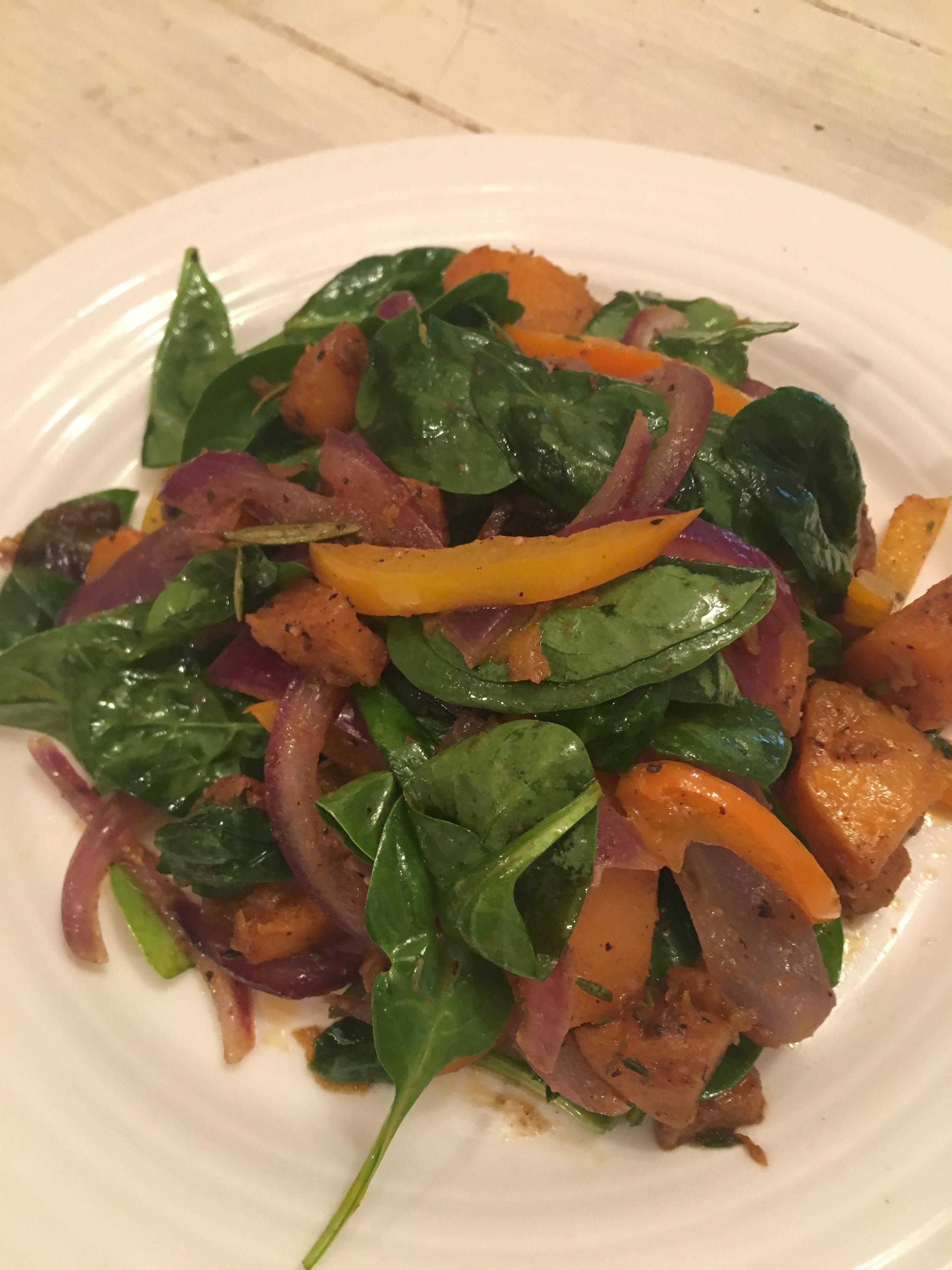Butternut Squash, Spinach, Peppers & Onions