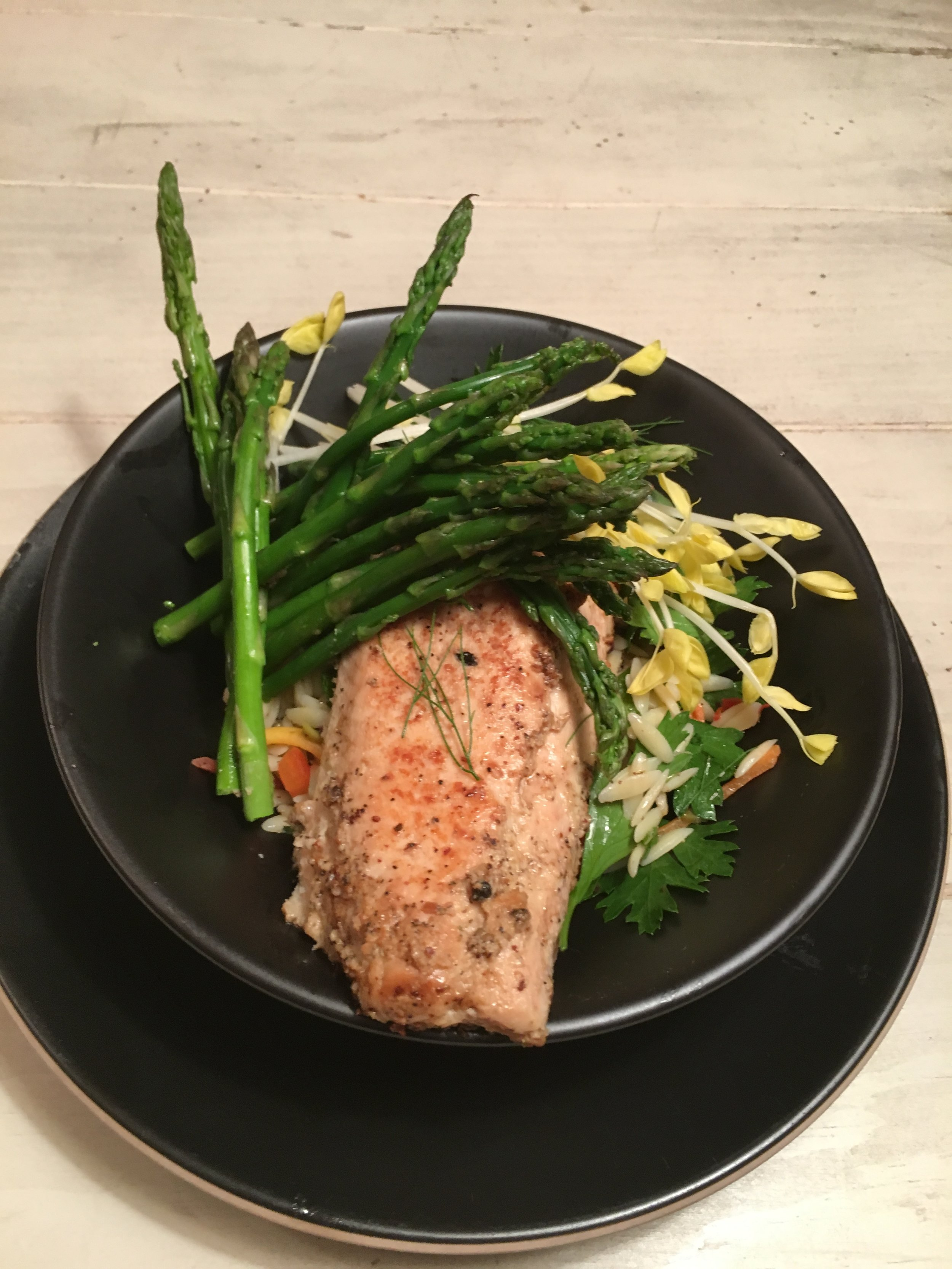 Grilled Salmon Over Orzo W Asparagus