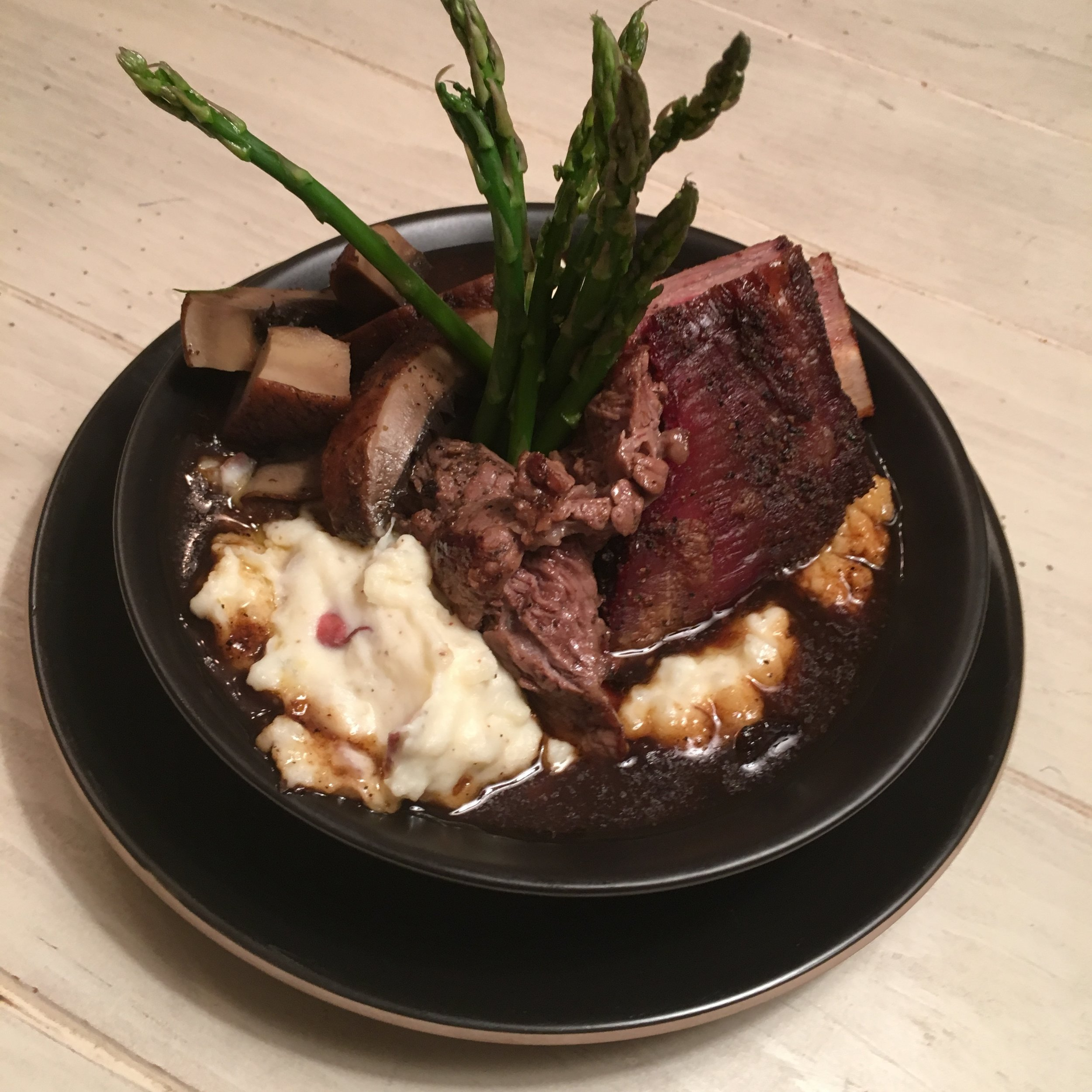 Duo of Beef Over Mashed W Portobello & Asparagus