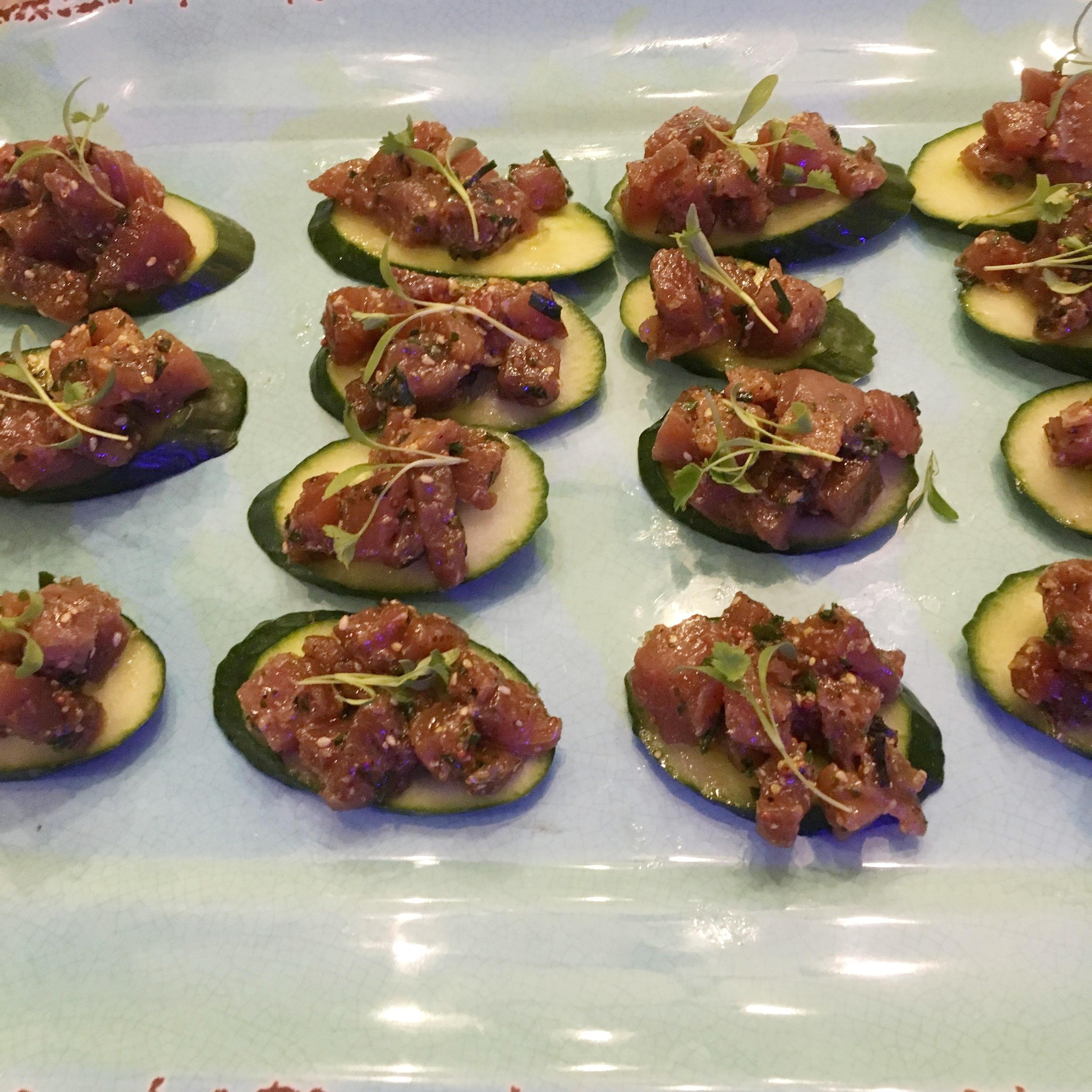 Tuna Tar-Tar on English Cucumber