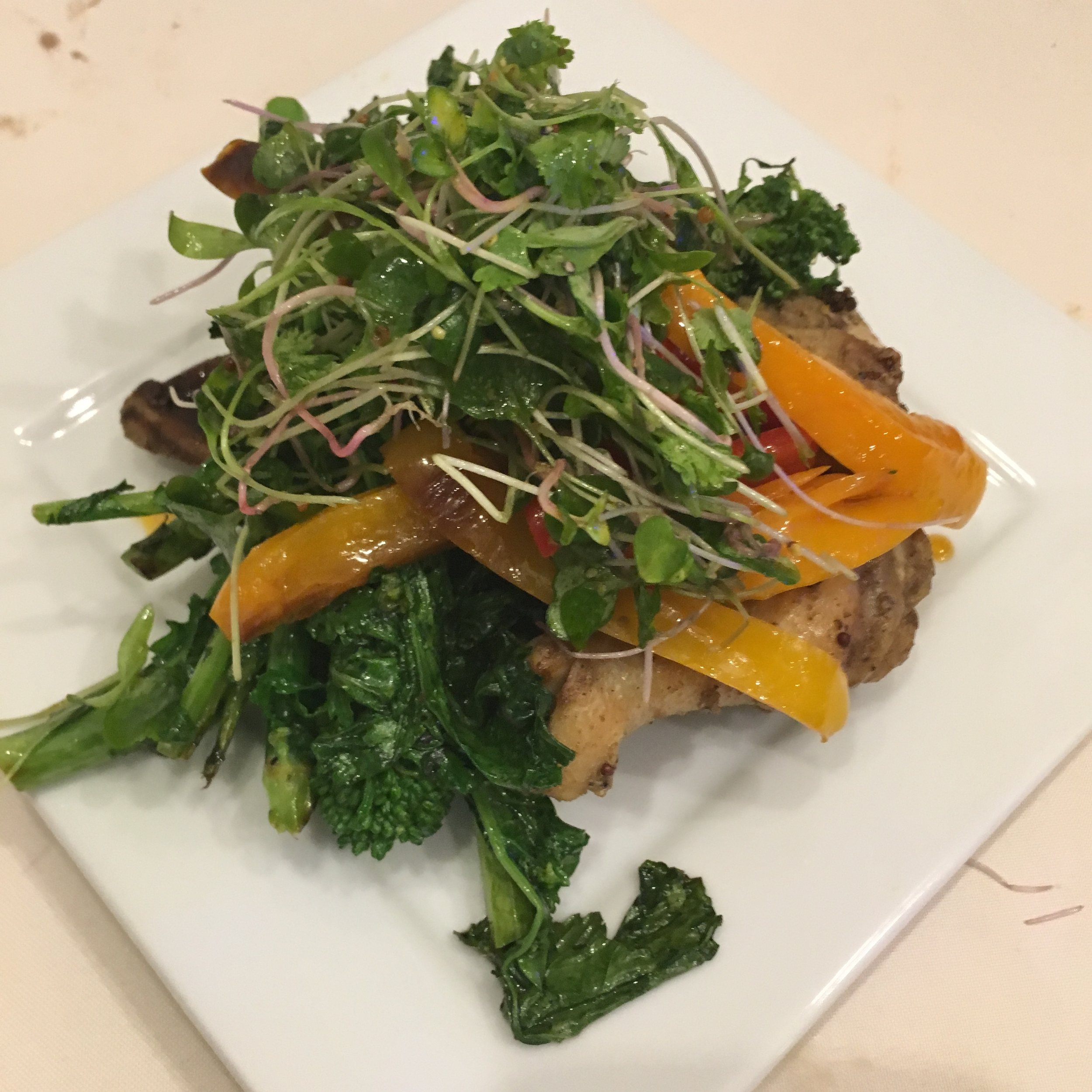Airline Chicken Breast W Broccoli Rabe & Radish sprouts