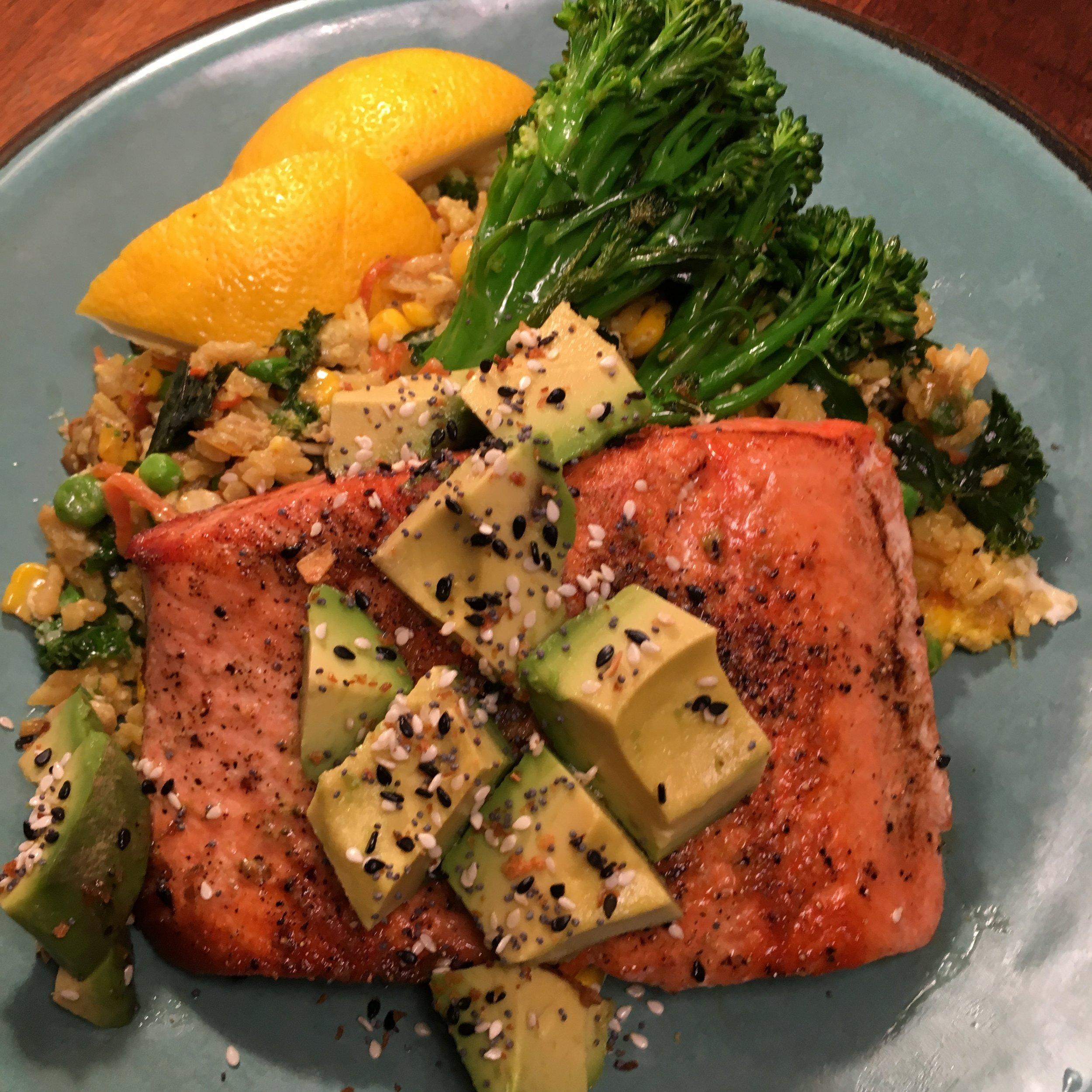 Seared Salmon Over Saffron Rice W Avocado & Broccoli
