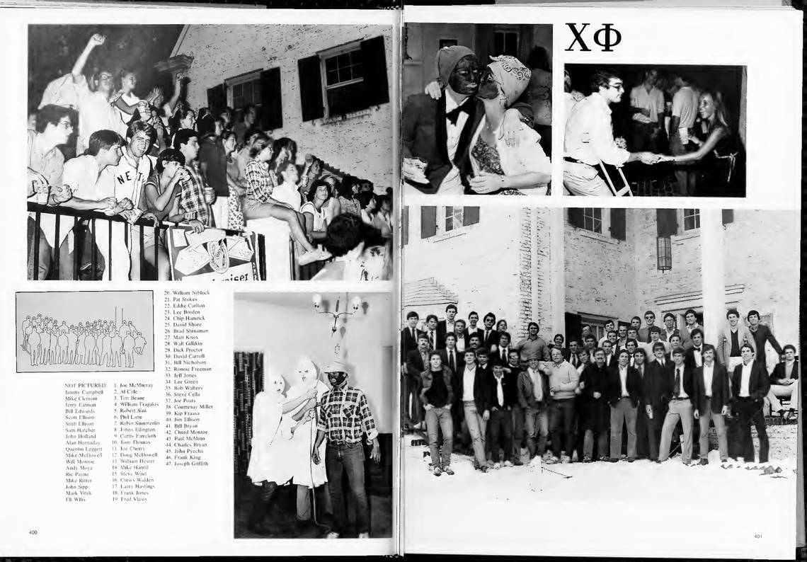 The Chi Phi fraternity pages in the 1979 UNC yearbook, Yackety Yack.