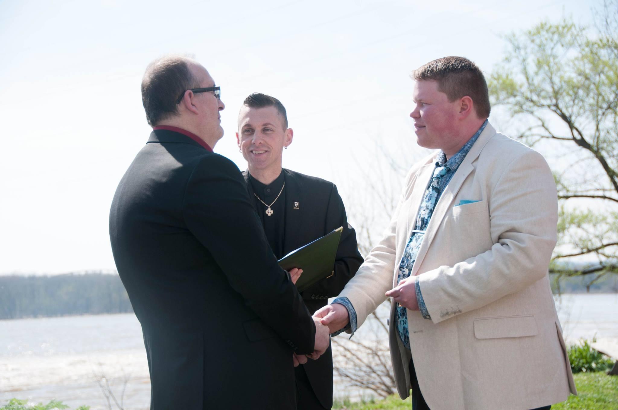 Rev. Blanchard officiating a wedding.
