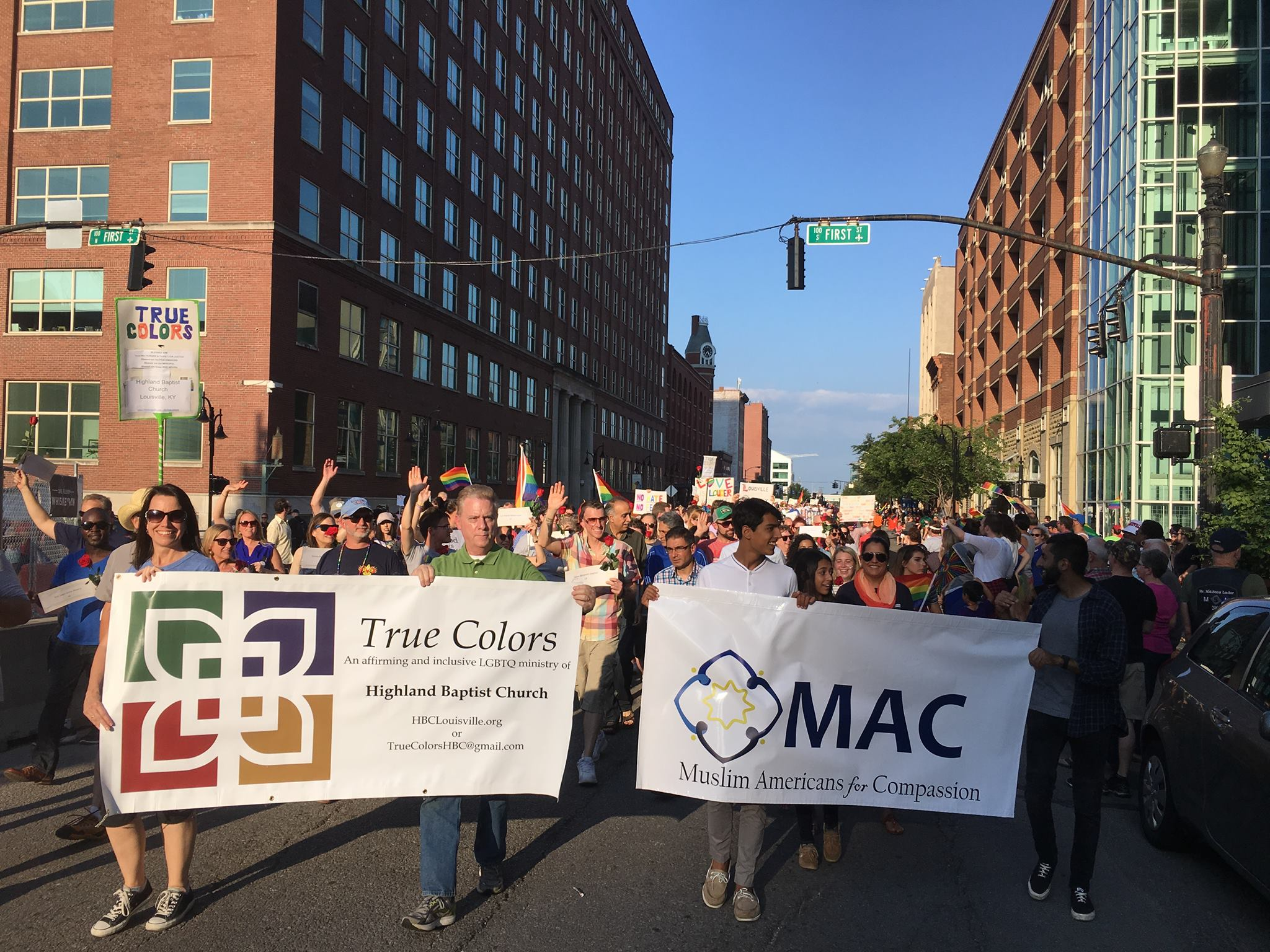 A march including True Colors ministry and Muslims Americans for Compassion